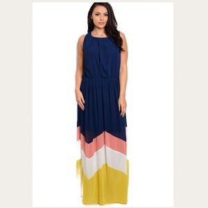 Dresses & Skirts - Plus Size Navy Chevron Maxi Dress 1X 14 16